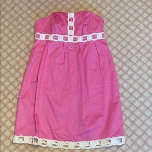 Classic Lilly strapless pink party dress